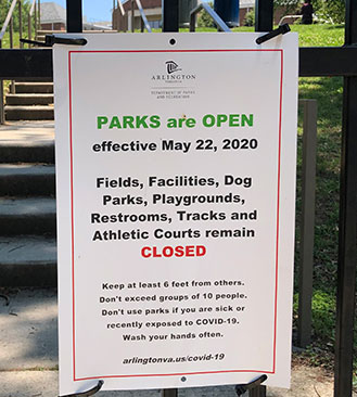 Parks are open, playgrounds are closed