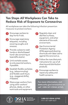 OSHA poster on tips for preventing COVID-19 exposure in the workplace
