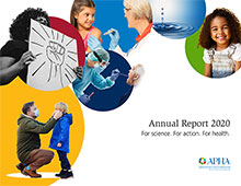 APHA Annual Report 2020 cover with people wearing face masks, child getting vaccination, woman holding protest sign, water droplet, smiling girl