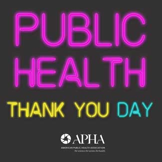 Public Health Thank You Day in neon pink, yellow and green letters
