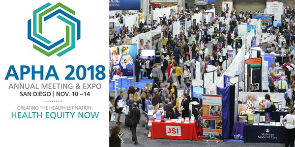 APHA 2018 overhead shot of expo hall with booths and lots of people