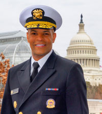 Surgeon General Jerome Adams with Capitol in background
