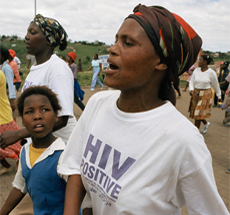 Women marching for HIV/AIDS