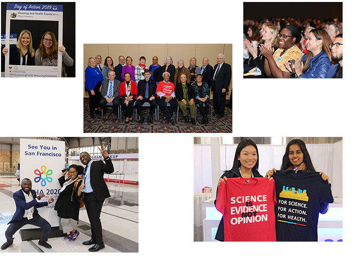 collage of photos from APHA 2019 including smiling attendees