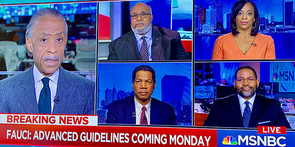 screenshot of Al Sharpton and panelists including Georges Benjamin