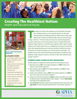 First page of Health and Educational Equity Fact Sheet featuring kids throwing graduation caps in the air