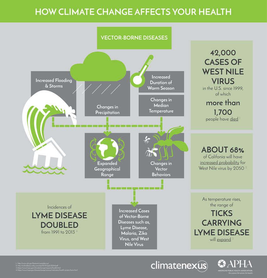 how climate change affects human health A new report from a wide-ranging group of doctors details the effects that climate change will have on the health of all americans.