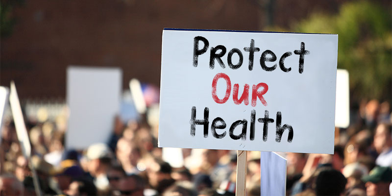 Protect Our Health protest sign